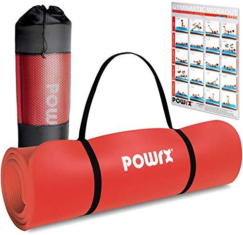 POWRX Gymnastikmatte Premium inkl. Trageband + Tasche + Übungsposter GRATIS I Hautfreundliche Fitnessmatte Phthalatfrei 190 x 60, 80 oder 100 x 1.5 cm I versch. Farben Yogamatte (Rot, 190 x 60 x 1.5 cm)