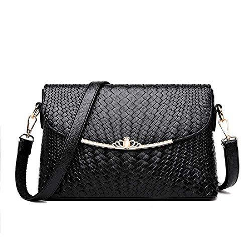 Amiemie tas met een schoudertas, gevlochten, 27 x 9 x 17 cm, zwart