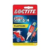 Loctite Super Glue-3 Spécial plastiques, colle forte pour tout plastique, colle transparente à séchage immédiat, tube de colle 2 g et stylo activateur 4 ml
