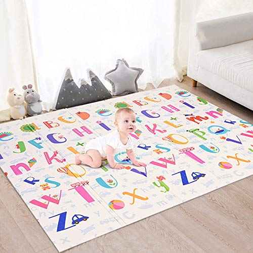 Fabur Alfombra de Juego para Bebés Plegable, Alfombra Musical de Gimnasio Colchonetas Alfombra Animal de Patrón del Alfabeto para el Regalo del Bebé, No Tóxico (180 * 200cm)