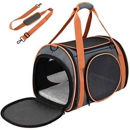 OKMEE Transporttasche Katze, Hund Transporttasche, Faltbare Hundetragetasche Katzentragetasche, Tragetasche für Haustiere, Reiseträger mit weicher Matratze für den Transport mit Zug/Auto/Flugzeug