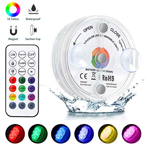 Unterwasser Licht, Macrimo IP68 Wasserdichtes Aquarium Led Beleuchtung, 13LED Farbwechsel Licht mit RF Fernbedienung, Poollampe für Swimmingpool, SPA, Vasenbasis, Aquarium, Teich