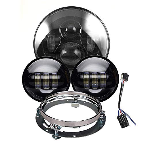 """7 Zoll LED Scheinwerfer 4,5 Zoll Nebelscheinwerfer für HD Motorräder mit 7""""Scheinwerferhalterung"""