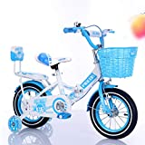 LJF Foldable Adjustable Kids Bike Steel Children's Bicycles Creative Girls Boys Bikes Princess Models, Easy Storage with Training Wheel 12, 14, 16, 18 inches for 3-11 Years Old