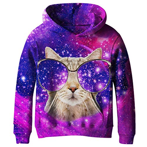 Image of the SAYM Big Girls Galaxy Fleece Pockets Sweatshirts Jacket Pullover Hoodies NO4 S