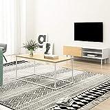 Mc Haus ODEIL- Mueble TV madera blanco salón, Diseño estilo Nórdico Mesa Televisión Comedor con 1 puerta, 2 compartimentos y patas de madera 110x35x40cm