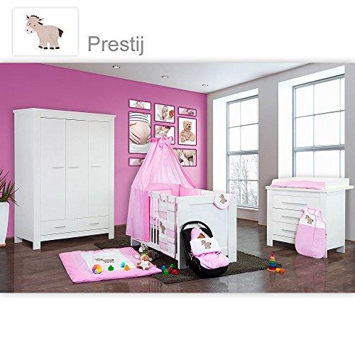 Babyzimmer Enni in weiss 21 tlg. mit 3 türigem Kl. + Textilien Prestij, Rosa