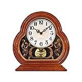 Thomm Relojes de péndulo, con Movimiento silencioso, operado por batería, Reloj de Mesa de diseño Vintage para Sala de Estar, Cocina, Oficina y decoración del hogar (Color : Brown)
