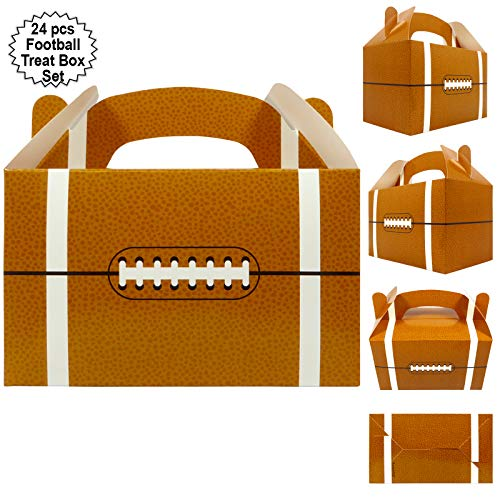 Football Party Treat Boxes | Team Favor Box with Handle (24 Pcs Set) | Football Party Supplies | Sports Theme Birthday Goody Boxes | By Anapoliz