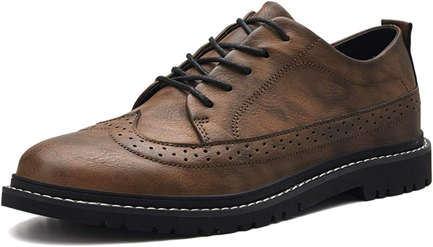 CHENDX shoes, Men's Fashion Breathable British style Oxford Casual Classic Carving Brogue shoes (color   Khaki, Size   8 UK)