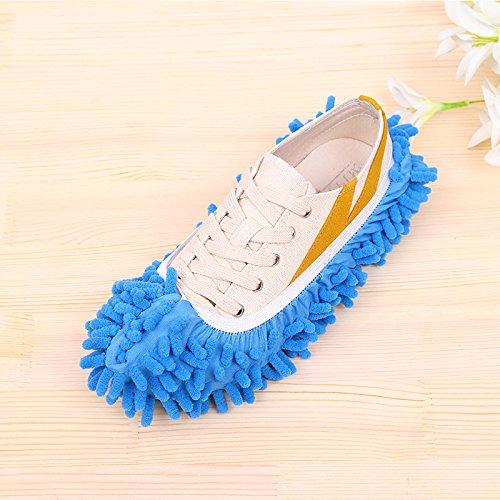 Winbang Floor Polvere di pulizia Slipper Shoes Cover Mop, Microfiber Mop Shoe Polvere Floor Slipper per la camera da letto Bagno Office Kitchen Cleaning (Blue)