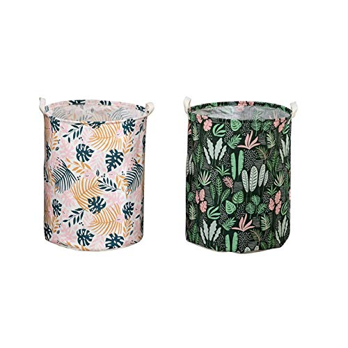 ZZXGG Dirty Clothes Basket Cotton and Linen Fabric Waterproof Storage Bucket (2 Pack)