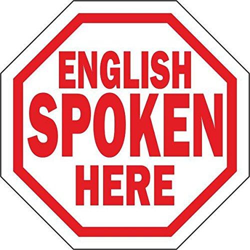 Autocollant sticker porte vitrine commerce magasin parle anglais english spoken