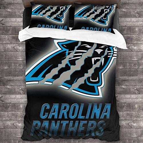 N \ A Carolina Fit Panthers - Juego de cama de 3 piezas de 218,4 x 70 cm, juego de edredón suave de tamaño individual, con 1 funda de edredón y 2 fundas de almohada