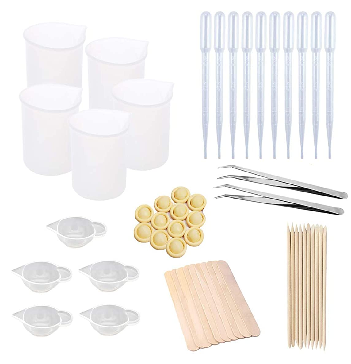Silicone Mixing Cups for Resin 62 Pieces Resin Cups Casting Tools Kit 100ml Measuring Cups Mixing Cups, Epoxy Resin Cups, Glue Tools Sticks Pipettes Finger Cots for Epoxy Resin, Casting Molds (62 Pcs)