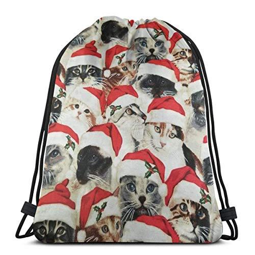 Hdadwy Mochila con cordón Bolsas Sombrero de Navidad Gatos Mochila Ligera de Almacenamiento con Cuerdas Escolares para Mujer