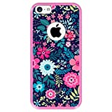 Hapdey Funda Rosa para [ Apple iPhone 5C ] diseño [ Patrón de Flores Multicolor ] Carcasa Silicona Flexible TPU