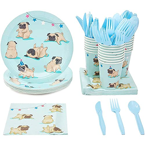 Disposable Dinnerware Set - Serves 24 - Dog Party Supplies for Kids Birthdays, Pugs Design, Includes Plastic Knives, Spoons, Forks, Paper Plates, Napkins, Cups
