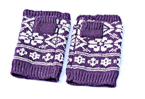 Lila Fäustlinge Wolle Fingerlose Handschuhe Fair Isle Handwärmer Handgestrickte Pulswärmer Gestrickte Norwegische Fäustlinge Wolle Skandinavische Fäustlinge