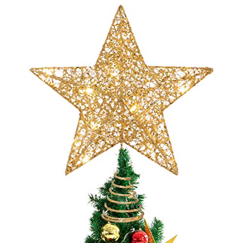 STOBOK Christmas Tree Star Topper Lights Xmas Tree Glittered Tree-top Lamp Ornament Party Home Decor (Silver) (Gold)