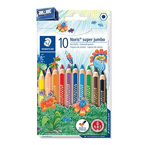 STAEDTLER Noris Club 129 NC10 - Lápices de Colores Super Jumbo, Caja con 10 Unidades y Sacapuntas