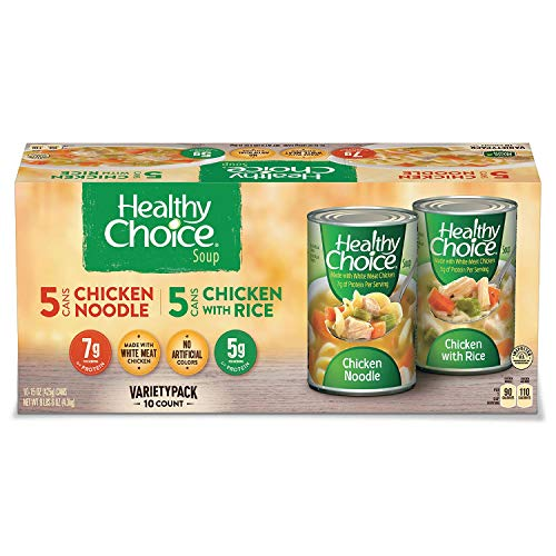 Healthy Choice Soup 5 Chicken Noodle and 5 Chicken with Rice Variety Pack, 15 oz. cans by Healthy Choice Soup