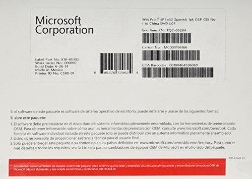 Systembuilder Windows 7 Professional SP1 32-bit Spanisch 1pk DSP OEI DVD [import allemand]