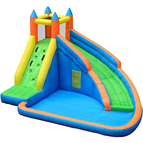 WANGZI Casa de rebote inflable con tobogán, castillo de salto con soplador y onda, piscina, escalada, pared, centro de juego inflable para niños, fiesta de agua de verano