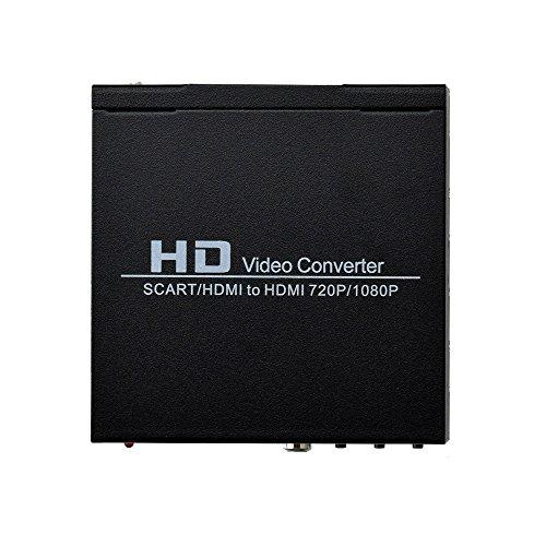 Mcbazel Convertitore da SCART+HDMI a HDMI con 3,5mm segnale in formato 480I(NTSC)/576I(PAL) in uscita segnale 720P/1080P HDMI,collegabile con DVD,set-top box,lettore HD,console(PS2PS3PSP,Wii,Xbox360)
