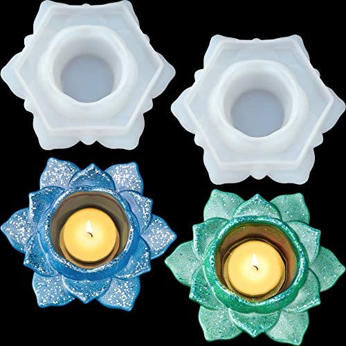 2 Pieces Flower Candlestick Resin Molds Lotus Flower Silicone Molds Candles Holders Resin Mold product image