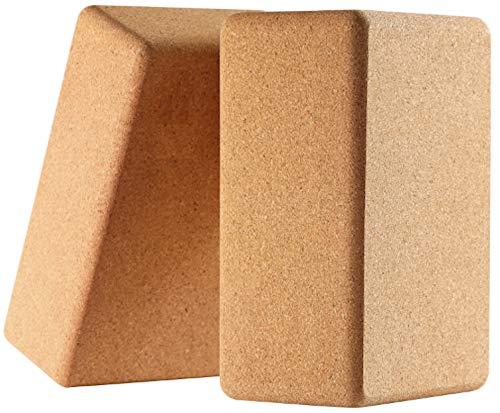 "Cork Yoga Blocks 2 Pack Set 100% Natural Cork 9""x6""x4"" Yoga Blocks Non-Slip&Anti-Tilt, Lightweight"