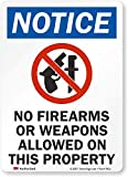 'Notice - No Firearms Or Weapons Allowed On Property' Label By SmartSign | 5' x 7' 3M Reflective Laminated Vinyl