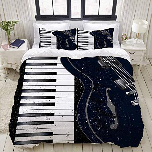 SmallNizi Juego de Funda nórdica, Guitarra eléctrica con Teclas de Piano en Blanco y Negro, Juego de Cama Decorativo Colorido de 3 Piezas con 2 Fundas de Almohada