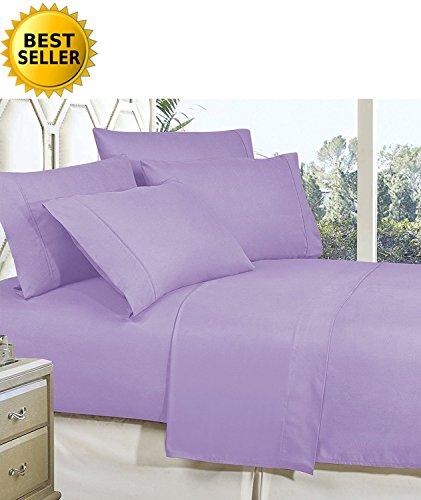 Celine Linen Best - Juego de sábanas para cama de matrimonio (lino), color verde Juego de sábanas de calidad egipcia de 1800 hilos, resistentes a las arrugas, 4 piezas, con bolsillos profundos, 100% hipoalergénico, tamaño king, color lila