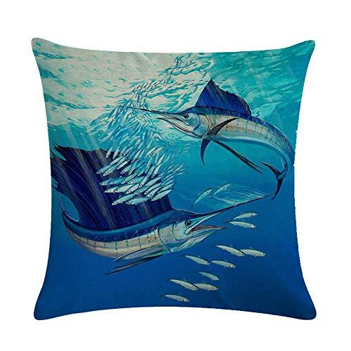 Funda de cojín Funda de Cojine Pez espada Peces de mar Océano azul Almohada para Cojín 45X45CM