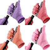 4 Pairs Cut Resistant Gloves Kitchen Safety Cutting Gloves Level 5 Protection Cut Proof Gloves in 4 Colors for Oyster...