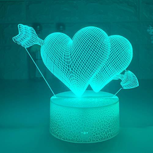 ZBHW Pierce la luz de la Noche de su corazón 3D con el corazón LED Touch Switch Atmósfera Colorida para la decoración del hogar Lámpara de Mesa de luz