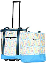 Olympia 2-Piece Rolling Shopper Tote and Cooler Bag, Summer words, One Size