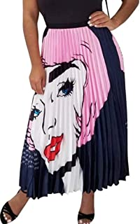 Women's Graffiti Pleated Skirts Cartoon Printed Elastic Waist A-Line Swing Flowy Long Midi Party Skirt