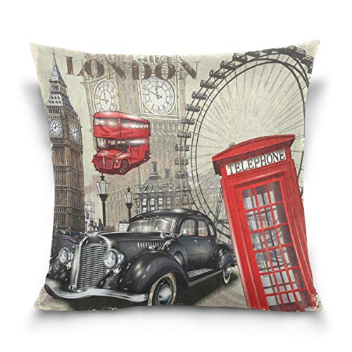 Use7 Funda de Almohada Decorativa Funda de cojín Cuadrada, Big Ben London Coche Cityscape sofá Cama Funda de Almohada Doble Cara, Tela, 50 x 50cm/20 x 20 Inches