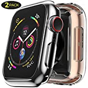 [2 Pack] Case for Apple Watch Screen Protector 38mm Overall Protection HD Clear TPU Soft Cover Case for iwatch 38mm Series 2 Series 3 (Clear+Black)