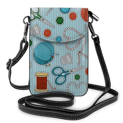 Goxegag Multifunktionale Leder Telefon Geldbörse, Leichte Kleine Schulter Umhängetasche Reisetasche Mit Verstellbarem Gurt Für Frauen-Schnittmuster blau