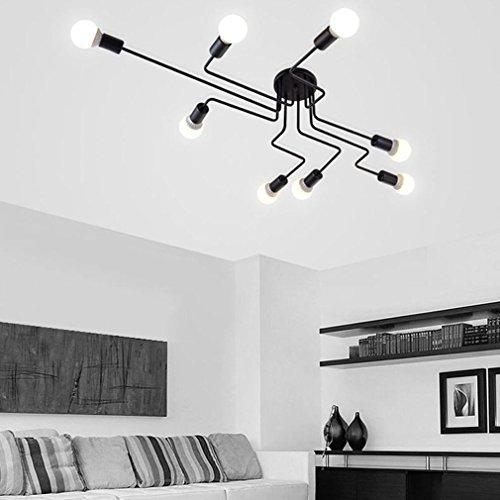 LED de l'industrie plafonniers en fer forgé E27 lumière grand plafond semi-Flush suspendu lumière noir blanc tension: 220V , BLACK-8
