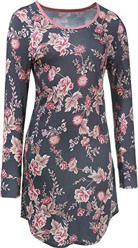 Rösch Damen-Nachthemd Single-Jersey grau/rosé Größe 46