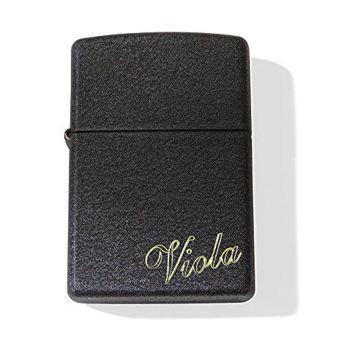Zippo Crackle ; Originales Robustes schwarzes Benzinfeuerzeug mit SOFORTGRAVUR + VORSCHAU : Gravur auf der Vorderseite : Ich Liebe Dich +1 Vorname oder Datum auf der Rückseite