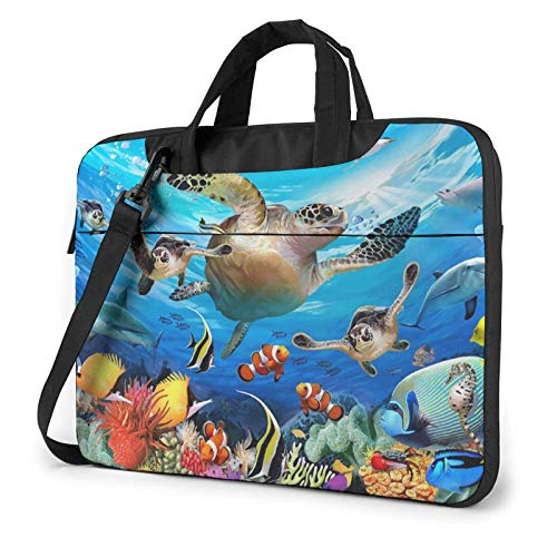 Laptop Bag Satchel Tablet,Sea Turtle Dolphin Fish Laptop Sleeve Case,Laptop Shoulder Bag For Business Casual or School With Shoulder Straps & Handle
