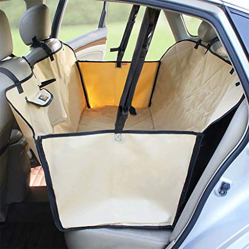 Car Seat Cover Dog, 3 Layers Quilted Waterproof Washable & Nonslip Backing, Pet Car Hammock Back Seat Cover with a Storage Bag,Yellow