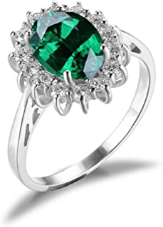 Glamourous 2.5Ct Synthetic Emerald Ring Made Solid 925 Sterling Silver