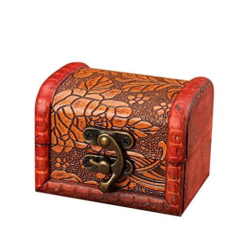 DAY.LIN Schmuckschatulle Vintage Holz handgefertigte Box mit Mini Metallschloss zum Speichern von Schmuck Schatz Perle (Braun, A)