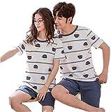 HoEOQeT Pijamas para parejas de primavera y verano, pantalones de pijamas con forma de pastel lindo, pantalones de dormir, ropa casual cómoda y transpirable, pijamas de manga corta para parejas, servi